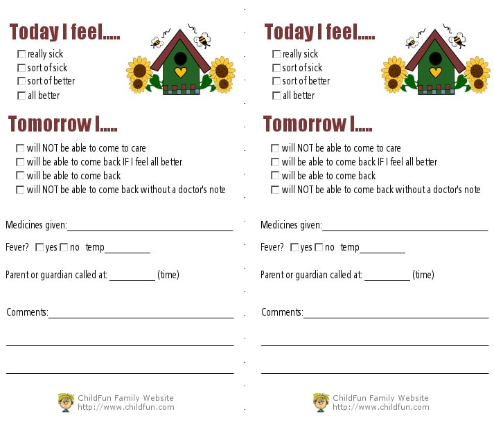 child care medical forms