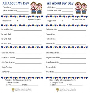 Child care daily reports printable forms childfun toddler daily report preschool daily report altavistaventures Gallery