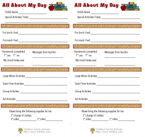 Child Care Amp Daily Reports Printable Forms Childfun