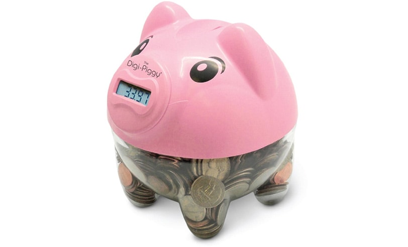This little piggy counts your money.