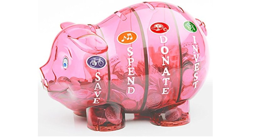 This piggy bank also teaches you to invest.