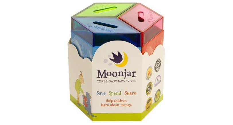 The Moonjar Moneybox helps teach children about money.