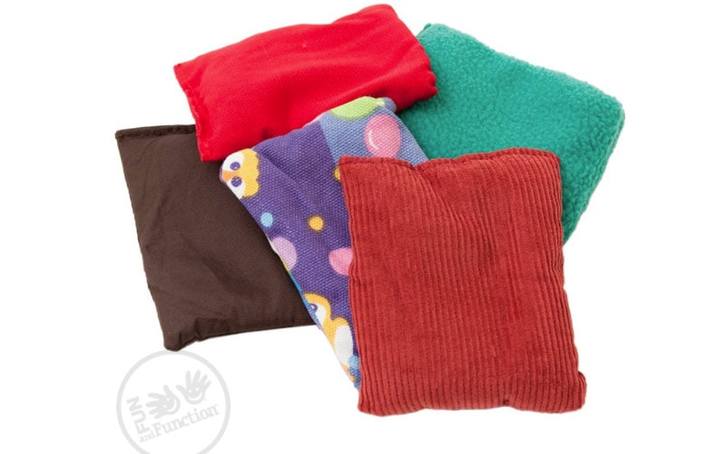 Tactile bean bags for kids with 1lb or 1/2lb weights