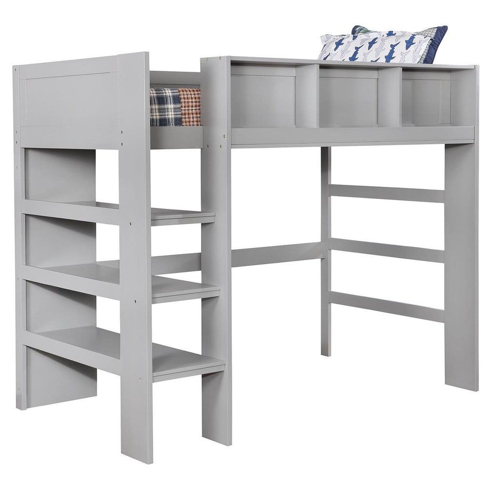 Furniture of America Peralta Transitional Twin Loft Bed with Built-In Bookcase