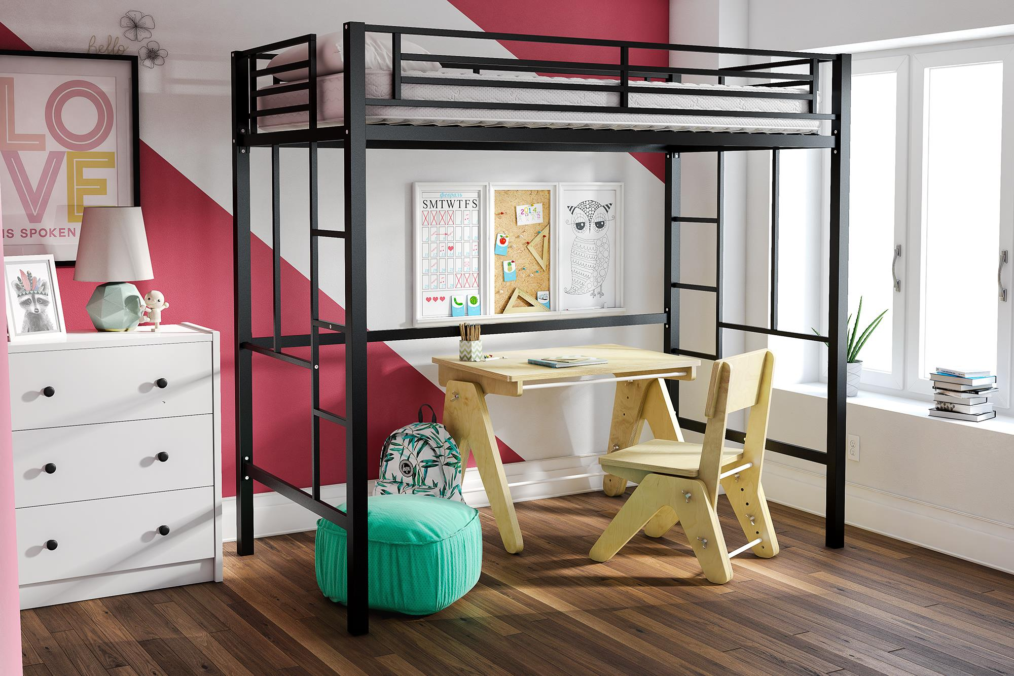 YourZone Metal Loft Bed